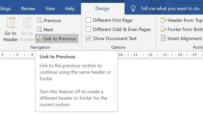 How to start page numbering on page 3_link to previous