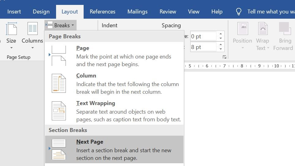How to start page numbering on page 3_section break