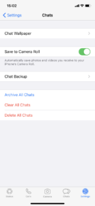 Screenshot of WhatsApp Settings