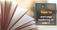 Word: How to start page numbering on page 3