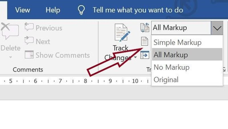 How to choose a markup option in Microsoft Word
