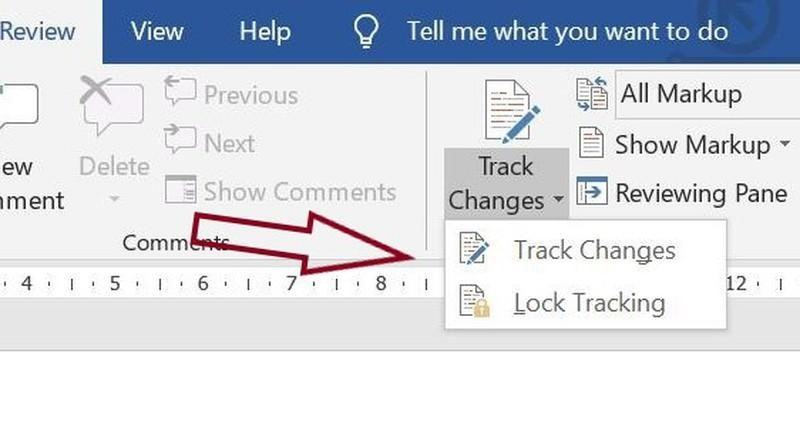 Where to find the option to lock change tracking in Word