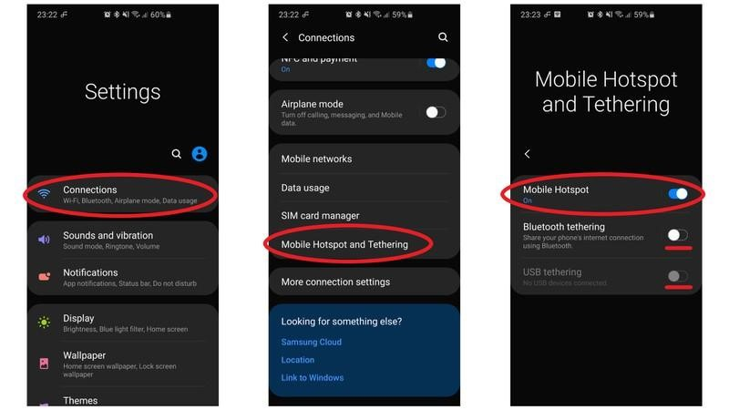 Hotspot settings for Android