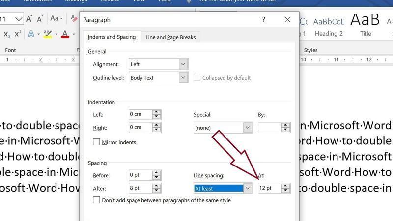 """Choosing line spacing option """"at least"""" in Microsoft Word"""