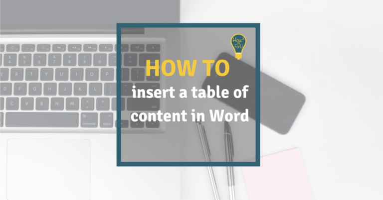 Inserting a table of content in Microsoft Word