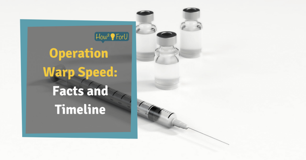 "Picture of a syringe in front of a white background and a text box reading ""Operation Warp Speed: Facts and Timeline"""