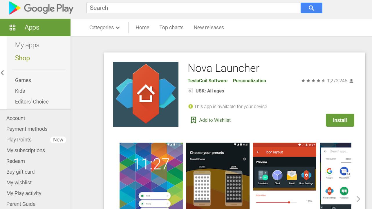 Screenshot of the Nova Launcher in the App Store