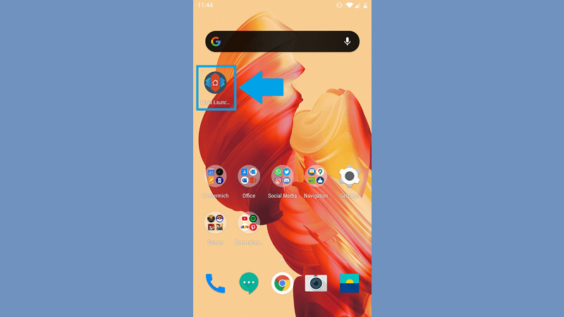 Screenshot of the first step of how to change app icons with the Nova Launcher