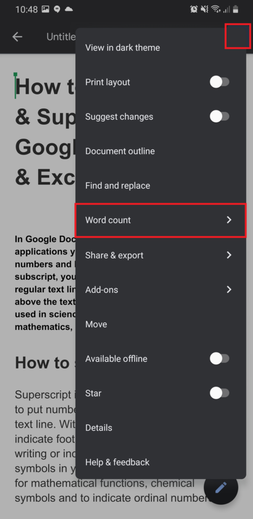 Word count in Google Docs on mobile
