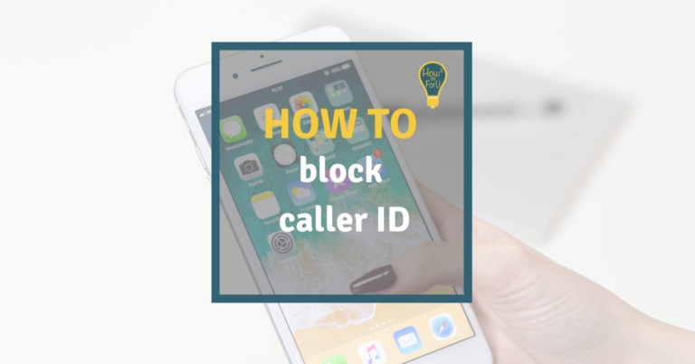 """Light Background showing a smartphone and a text box reading """"How to block caller ID"""""""