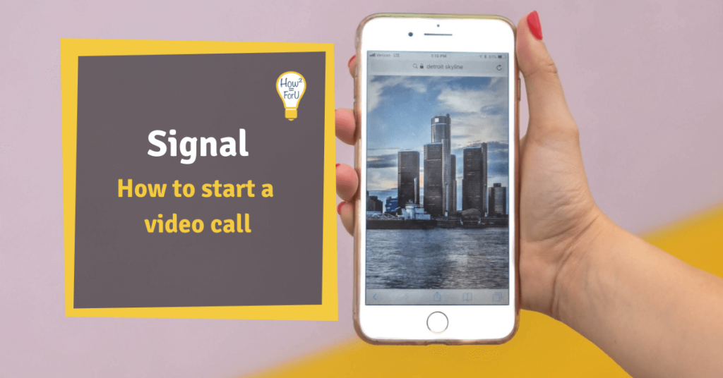 "Hand holing a phone showing a city skyline next to a text box reading ""Signal: How to start a video call"""