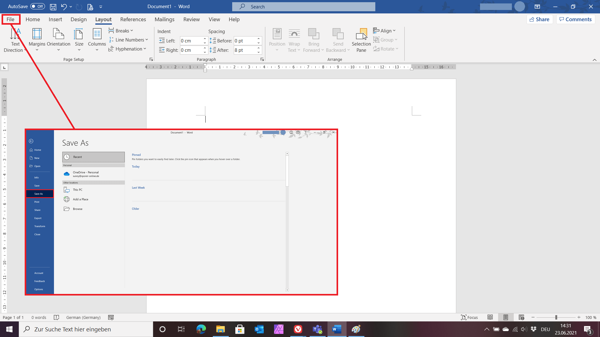 Screenshot of the first step of creating a Word template