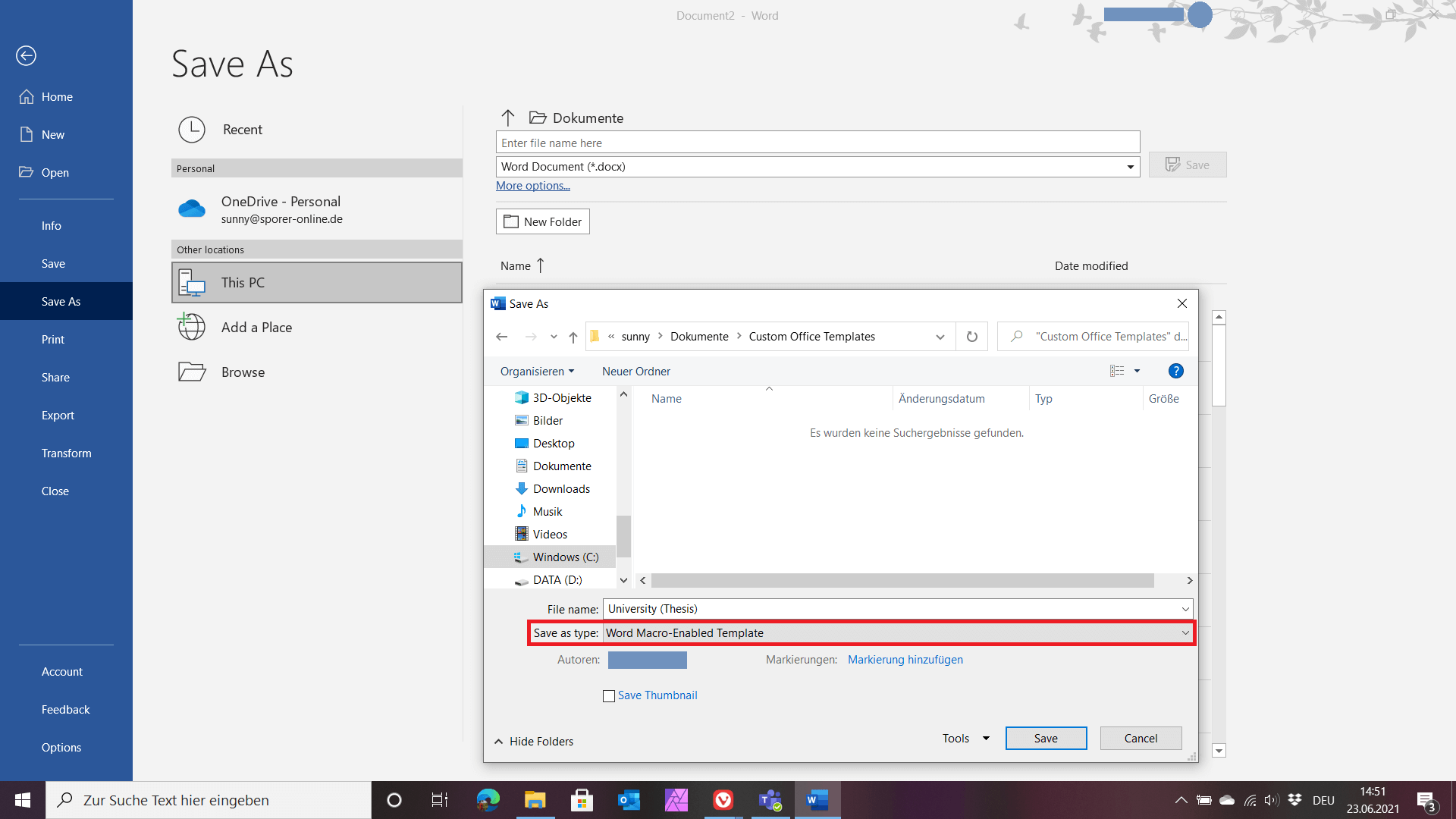 Screenshot for creating a template in Word