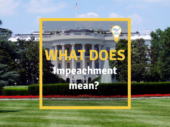 """White House in the background and on top of it a text box reading """"What does impeachment mean?"""""""
