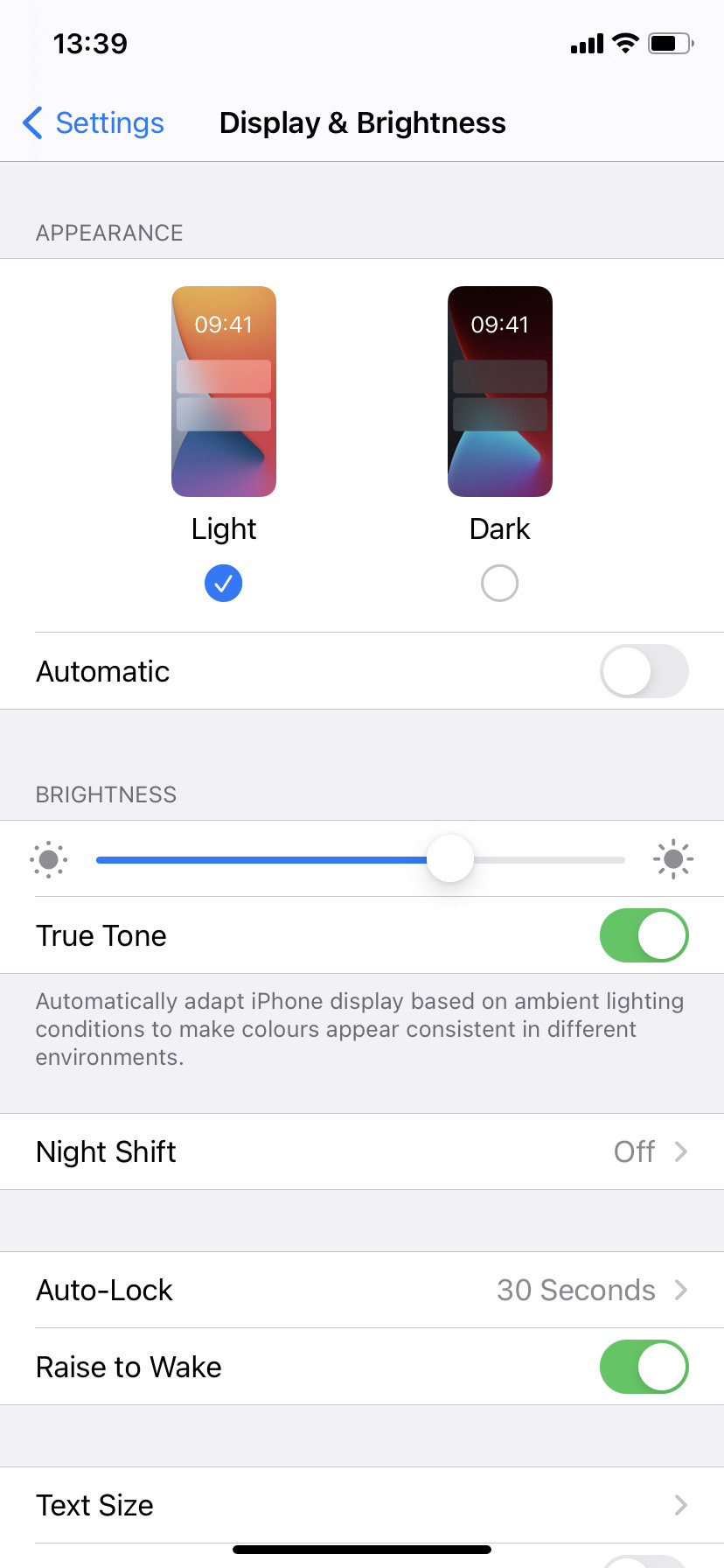 Adjust your display and brightness settings on iOS14