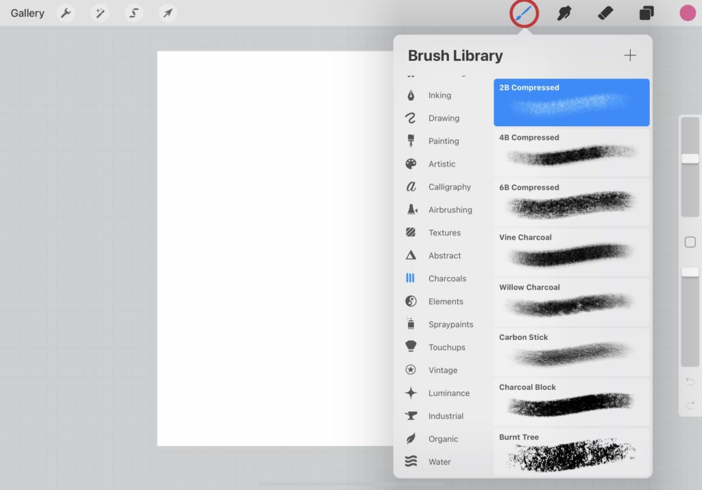 How to choose a brush on Procreate