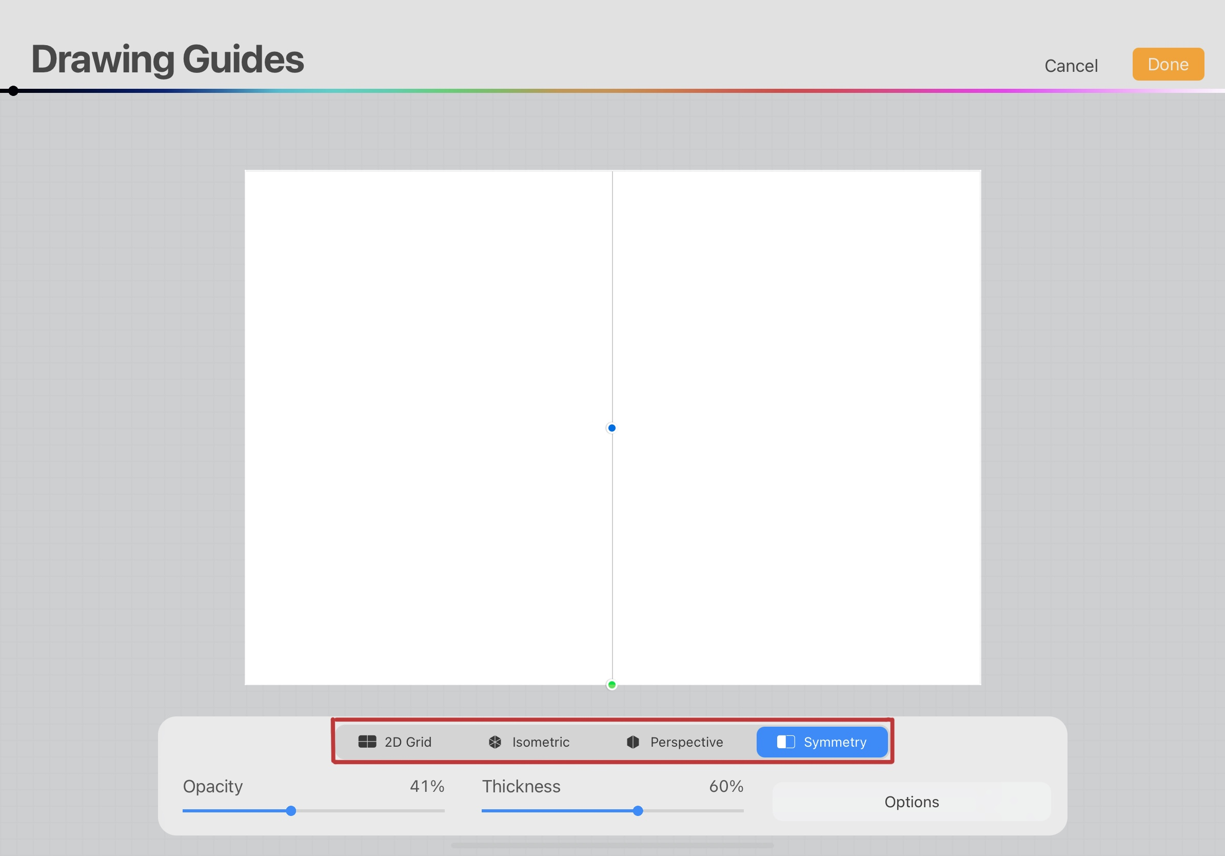 How to adjust the drawing guide settings on Procreate
