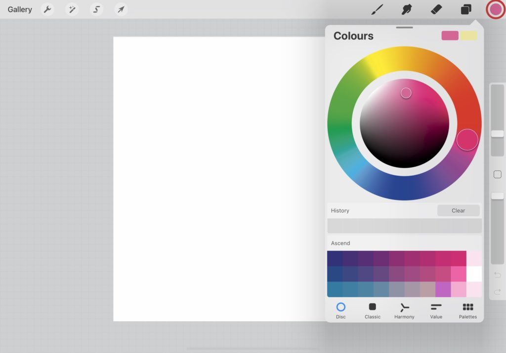 How to choose a color on Procreate